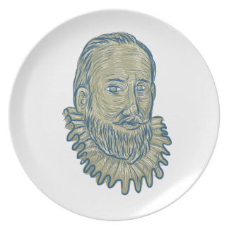 Sir Walter Raleigh Bust Drawing Plate