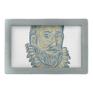 Sir Walter Raleigh Bust Drawing Rectangular Belt Buckles