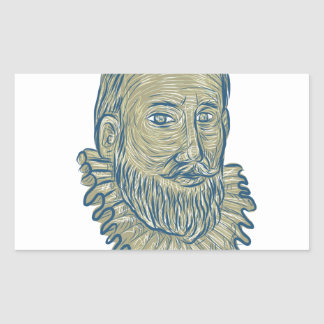 Sir Walter Raleigh Bust Drawing Rectangular Sticker