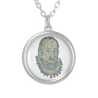 Sir Walter Raleigh Bust Drawing Silver Plated Necklace