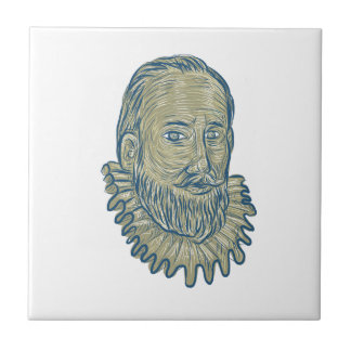 Sir Walter Raleigh Bust Drawing Small Square Tile