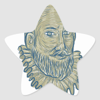 Sir Walter Raleigh Bust Drawing Star Sticker