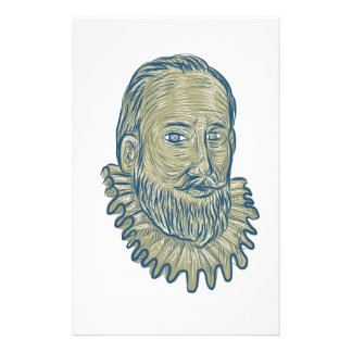 Sir Walter Raleigh Bust Drawing Stationery