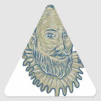 Sir Walter Raleigh Bust Drawing Triangle Sticker