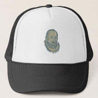 Sir Walter Raleigh Bust Drawing Trucker Hat