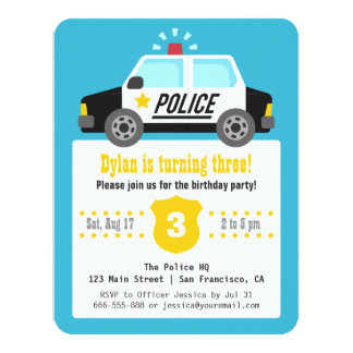 Siren Police Car Kids Birthday Party 11 Cm X 14 Cm Invitation Card