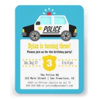 Siren Police Car Kids Birthday Party Invites