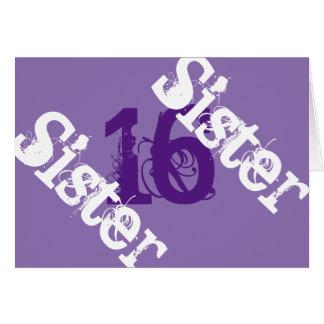 Sister, 16th birthday, white on purple. card