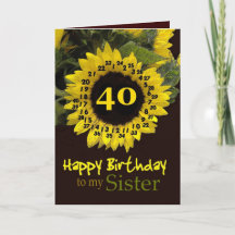 SISTER - 40th Birthday with Cheerful Sunflower Greeting