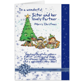 Sister And Partner Christmas Card With Elves