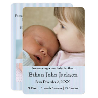 Sister Announcing Brother's Birth Blue 13 Cm X 18 Cm Invitation Card