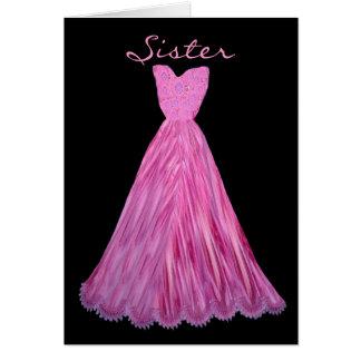 SISTER Be My  Bridesmaid MAGENTA Dress Greeting Cards