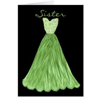 SISTER Be My  Bridesmaid OLIVE GREEN Dress Greeting Card