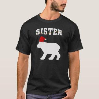 Sister Bear With Santa Hat Christmas Pajama T-Shirt