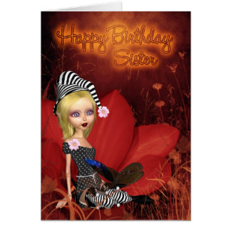 Sister, Birthday Card With Cute Fantasy Elf On A P