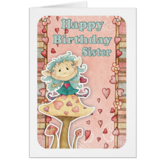 sister birthday card with cute little elf
