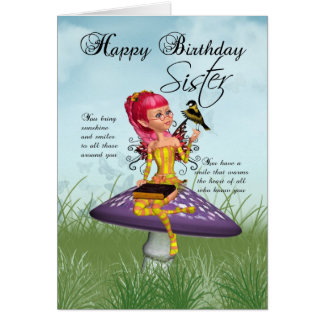 Sister Birthday Card With Fairy And Chaffinch