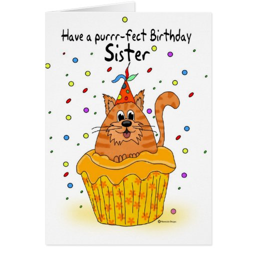 sister birthday card with ginger cupcake cat