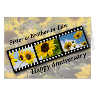 Sister & Brother-in-Law, Anniversary Sunflower Fil Greeting Card