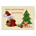 Sister.Christmas.Santa,tree,teddy bear,presents Greeting Card