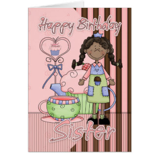 Sister Cute Birthday Card - Cupcakes And Tea - Afr