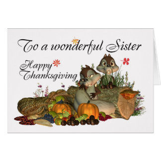 Sister, Cute Thanksgiving Card With Cornucopia, Sq