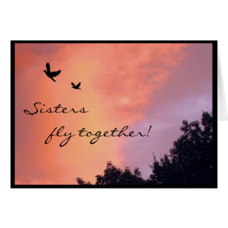 Sister Doves at Sunset Card