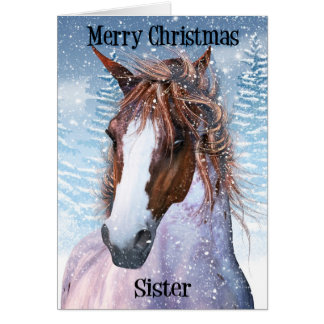 Sister Equine Horse With Winter Background Card