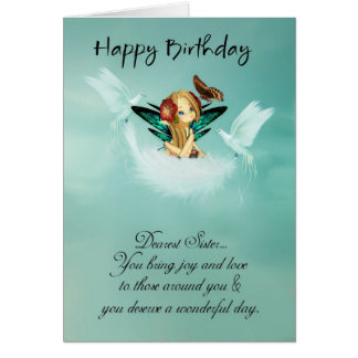 Sister Fairy Birthday Card With Doves