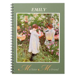 Sister, Girls in Flower Garden, Vint Note Books