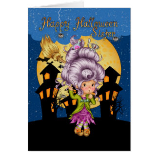 sister halloween card with cute witch