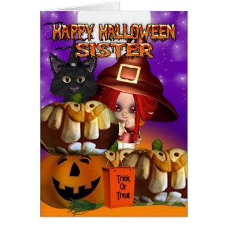 Sister Halloween witch cat pumpkin jack o lantern Greeting Card