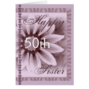 Sisters 50th birthday cards invitations zazzle sister happy 50th birthday lavender flower card bookmarktalkfo Image collections