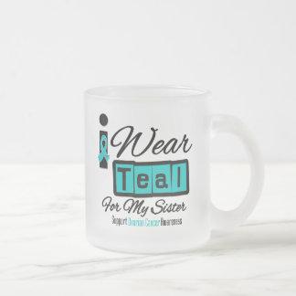 Sister - I Wear Teal Retro Ovarian Cancer Frosted Glass Mug