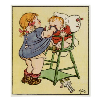 Sister In Highchair Early 1900's Poster