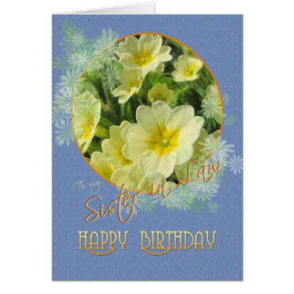 Sister in Law Happy Birthday Primroses Blue and Ye Card