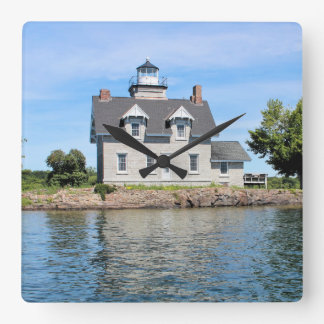 Sister Islands Lighthouse, 1,000 Islands New York Square Wall Clock