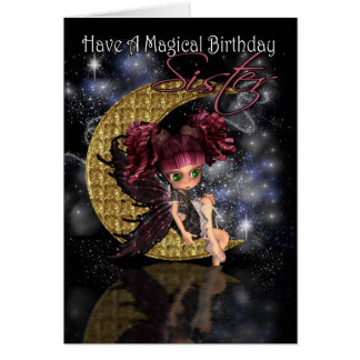 Sister Magical Birthday cute little moon fairy by Card
