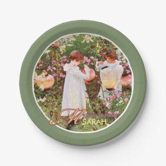 Sister, Mother's Day, Girls in Flower Garden, Gift 7 Inch Paper Plate