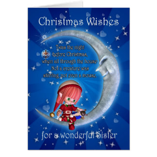 Sister, night before Christmas with elf an Greeting Card