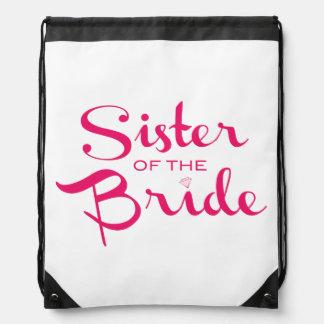 Sister of Bride Pink on White Drawstring Backpack
