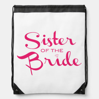 Sister of Bride Pink on White Drawstring Backpack