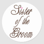 Sister of Groom Classy Browns Round Sticker