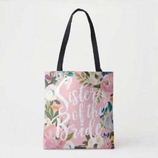 Sister of the Bride Brushed Floral Wedding Pink Tote Bag