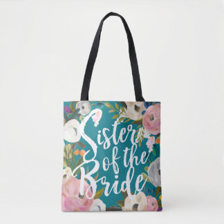 Sister of the Bride Brushed Floral Wedding Tote