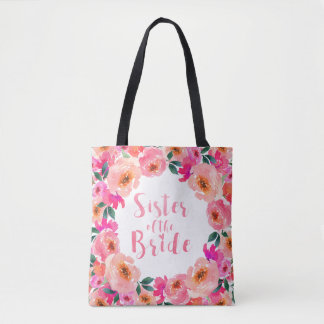 Sister of the Bride Pink Watercolor Floral Wedding Tote Bag