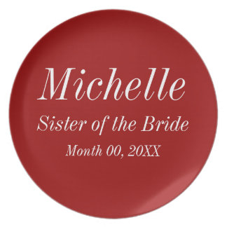 Sister of the Bride Wedding Plate