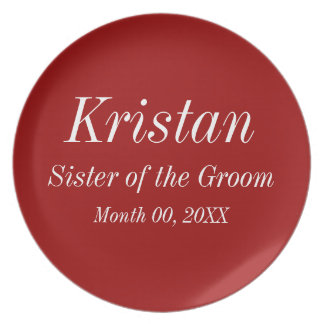 Sister of the Groom Wedding Plate