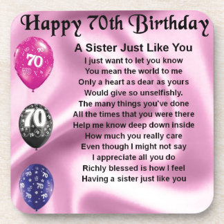 Sister Poem - 70th Birthday Coaster