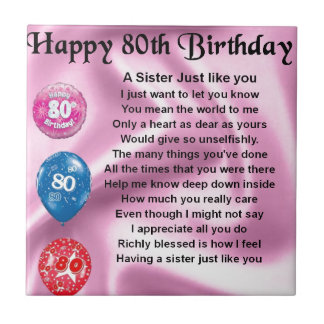 Sister Poem  - 80th Birthday Small Square Tile